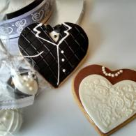 Heart shaped tuxedo & bridal gown cookies are a perfect complement to the wedding cake.