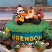 This birthday cake showcases the Angry Birds characters.