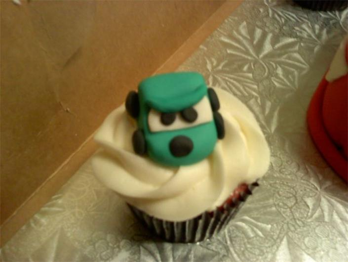 Yummy cupcake with one of the Cars characters.]