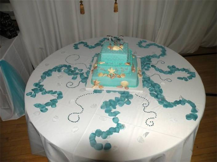 Not only is the cake decorated according to theme, but so is the table top.
